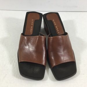 Nine West Falken Brown Leather Slide Sandals 7.5M